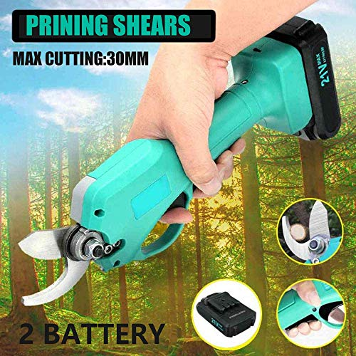 Buy Bargain ETE ETMATE Electric Pruning Shears Trimmer 25mm Branch Cutter with 2 Backup 21V Li-ion B...