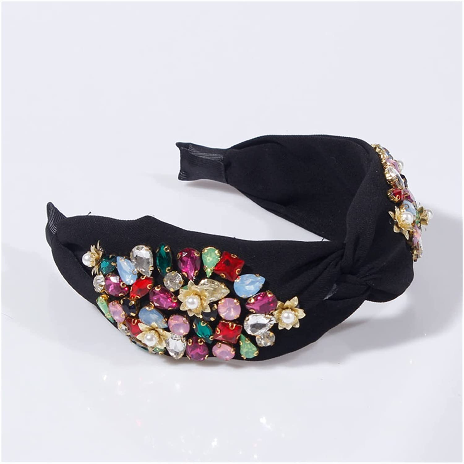 JIAQ Pearl Flower Headbands for Women Girls Crystal Rhinestone Hairbands Top Knotted Party Hair Hoop Handmade Hair Accessories (Color : Multi)