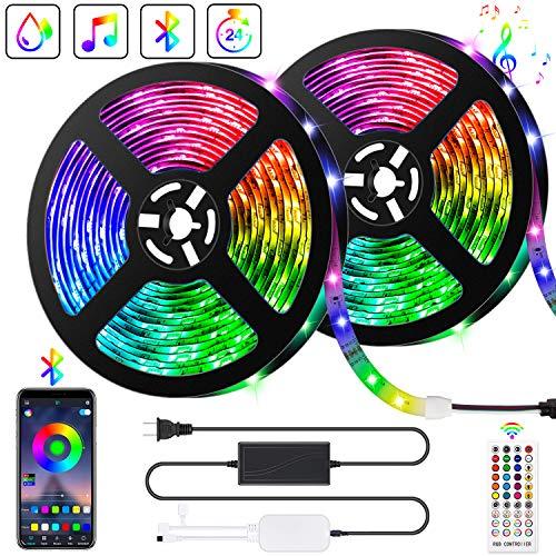Ruban LED Bleutooth,10M Bande LED 300 LEDs 5050 RGB IP65,Contrôlé par APP du Smartphone, Synchroniser avec Rythme de Musique/Fonction de Minuterie