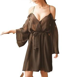 ACEGLOVAN Lace Kimono Robe Sexy Pajama Set for Women Cover Up Sleepwear & Robes Sets