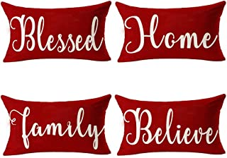 Andreannie Pack of 4 Merry Christmas Red Blessed Home Family Believe Cotton Linen Lumbar Waist Throw Pillow Case Personalized Cushion Cover Decorative for Sofa Living Room 12x20 Inches (005)