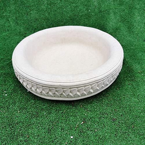 Garden Ornaments & Accessories Round Leaf Design Concrete Birdbath Top...