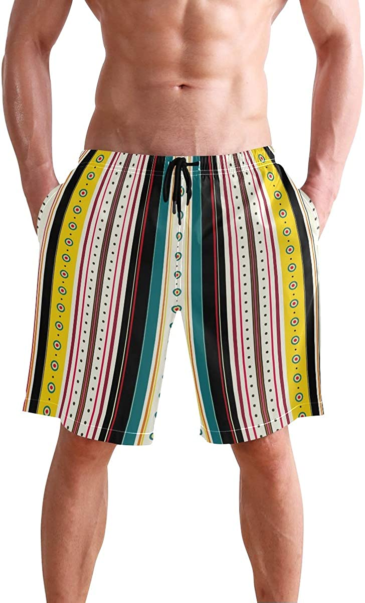 FCZ Mens Swim Trunks Vertical Stripes Little Circles Yellow Beach Board Shorts