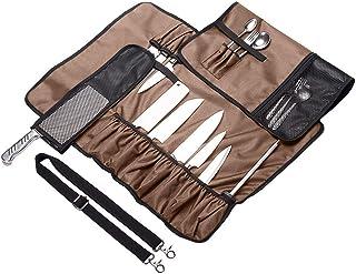Bolsa para cuchillos de chef con 17 ranuras y correa para el hombro para camping, picnic, barbacoa marrón
