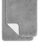Pack of 2 Bathroom Rugs Set, Non Slip Bath Mats 30x20 Inches Soft Shaggy Rug, Microfiber Water Absorbent Floor Mats, Machine Washable Bathroom Thick Plush Rug for Shower (Grey, 20'x32' + 20'x32')