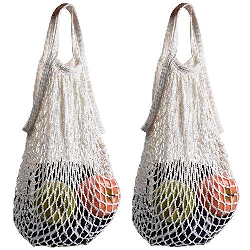 2 bolsas de red de Stonges organizadora para las compras, de algodón, respetuosas con el medio ambiente y fáciles de transportar white+blue