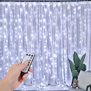 SZXKT 300 LED 9.8FT Connectable Curtain Lights Fairy String Twinkle Lights with 8 Modes for Wedding Party Festival Hotel Home Garden Decoration, White