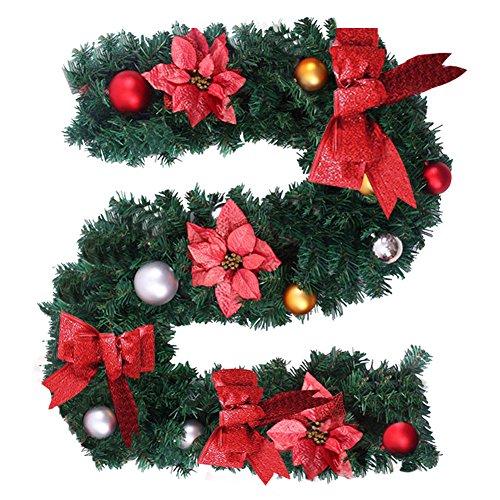 Ghirlanda Di Natale Artificiale Con Knot Rosso E Fiore; Ghirlanda Di Natale, Ideale Come Decorazione Per Scale E Caminetti Red