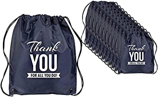 Set of 12 - Blue Thank You Drawstring Bag/Teacher Thank You/Event Thank You Bag/Nurses Day Thanks for all You Do/Holiday Bag Thank You/