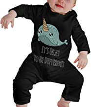It's Okay to Be Different Narwhal Unicorns Unisex Baby Long Sleeve Cute Bodysuit