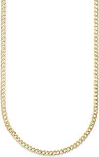 10K Gold 2.3mm Cuban/Curb Link Chain Necklace - Multiple lengths available- Yellow, White or Rose
