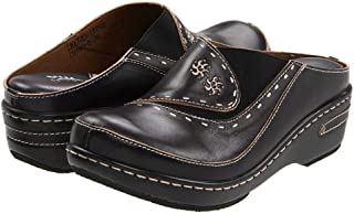 L'ARTISTE Women's Chino Clog | Hand Painted Leather (38, Black)