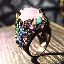 Simplylin_Rings Rings for Women Silicone Wedding Ring Nose Belly Button Luxury Vintage Rose with Diamonds Exaggerated Ring Jewelry (8)