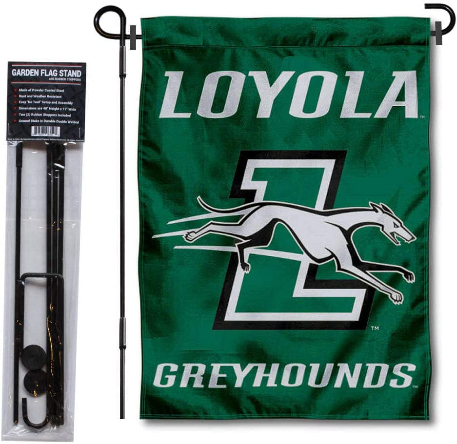 College Flags & Banners Co. Loyola Maryland Greyhounds Garden Flag and Flag Stand Pole Holder Set