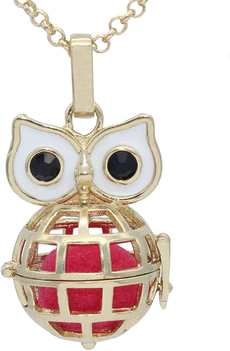 Gold Owl Cage Pendant With 31
