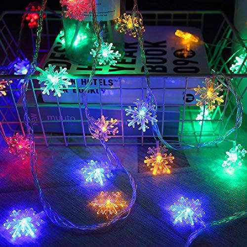 Decoración de luz navideña Luces de copo de nieve LED Cadena de luces pequeñas de colores Luces colgantes para festival Diseño de árbol de Navidad Batería USB