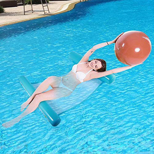 QHYK Aufblasbare Schwimmbett, WasserHängematte 4-in-1Loungesessel Pool Lounge, luftmatratze Pool aufblasbare hängematte Pool Spielzeug, Tragbar Wasserhängematte für Erwachsene (Blue)