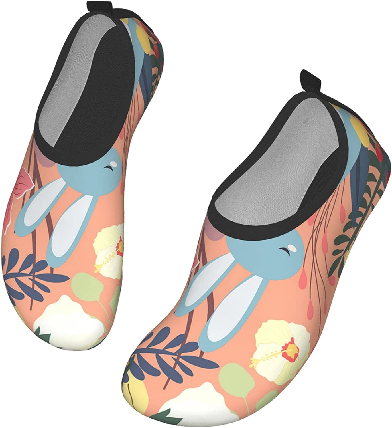 IBILIU Couple Rabbit Water Shoes,Cute Bunny in Colorful Forest Flower Leaf Frame Quick-Dry Barefoot Aqua Socks