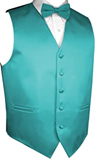 Brand Q Men's Formal, Wedding, Prom, Tuxedo Vest & Bow-Tie Set in Teal