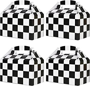 Racing Flag Gift Bags 24 Pcs Checkerboard Treat Box favor Snack Goody Cardboard Bag Perfect For Gift Giving And Racing Compete In Speed Theme Party Favors Decorations Supplies