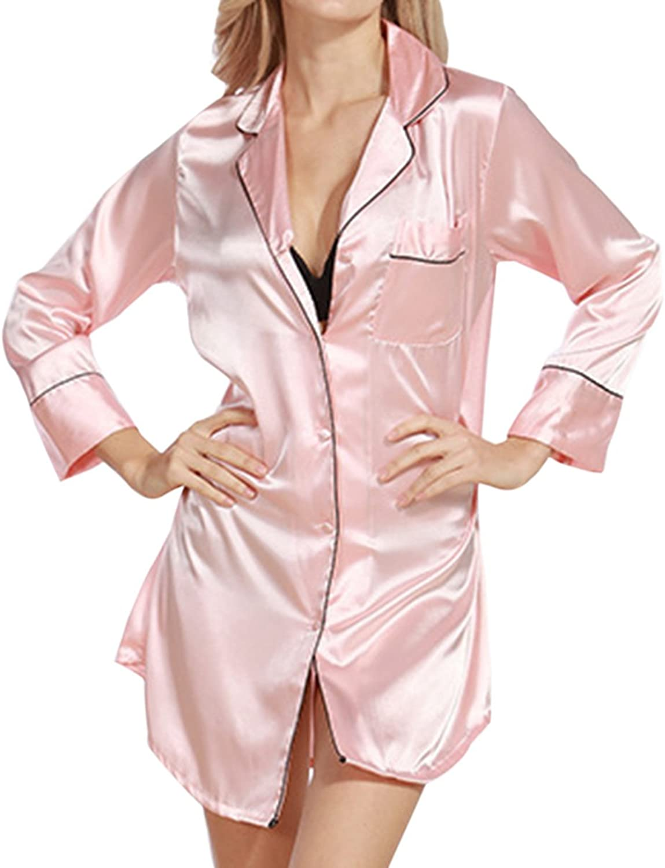 Dramaticbuying Women's Satin Nightshirt Boyfriend Style Button Silky Sleep Shirt