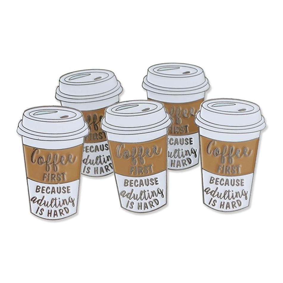気がついてスリーブ消費者コーヒー最初ためAdultingはハードエナメルdiestruckラペルピン ブラウン