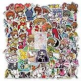 XXCKA 50 Piezas no repetidas Anime Card Captor Sakura Pegatina Chico Juguete Pegatina Equipaje Pegatina repetitiva