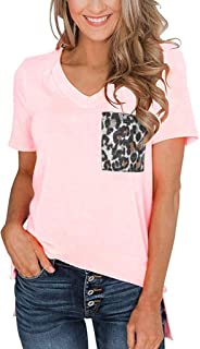 Amlaiworld Women's T Shirt Summer Party Shirt Short Sleeves V Neck T Shirt Leopard Pocket Casual Basic Tops Tracksuit