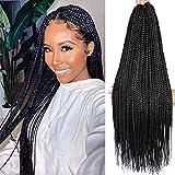 7 Packs 24 Inch crochet box braids Medium box braids crochet hair extensions 3X box Braided Crochet Hair kanekalon synthetic braiding Hair 24 Strands/Pack (24inch, 1B)