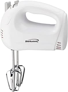 Brentwood Electric Hand Mixer, Lightweight 5-Speed, White