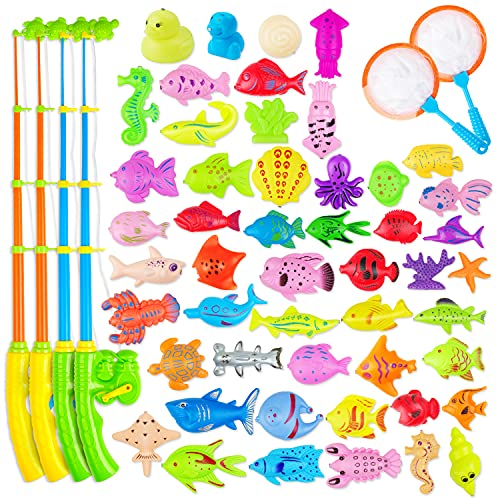 AUUGUU Magnetic Fishing Game Water Toy - 4 Fishing Poles with Working Reels, 2 Nets and 30 Colorful Magnetic Fish for Kiddie Pool, Water Table or Bath Fun - Toddler Toy for Ages 3-5