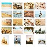 Postkarten für alle Gelegenheiten, Großpackung, sortiert, blanko, maritime Motive mit Stränden, Muscheln und Leuchttürmen, 10 x 15 cm, 40 Stück