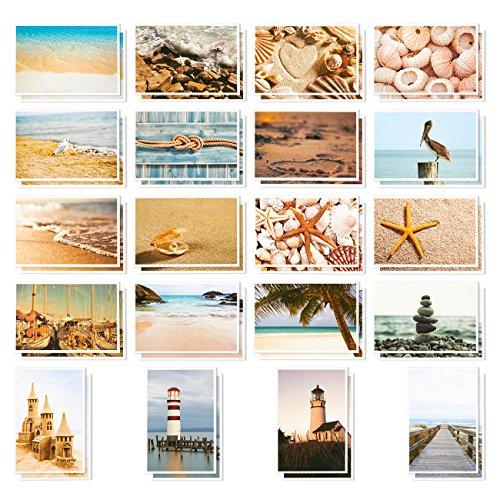 Ansichtkaarten voor alle gelegenheden, grote verpakking, gesorteerd, blanco, maritieme motieven met stranden, schelpen en vuurdeuren, 10 x 15 cm, 40 stuks