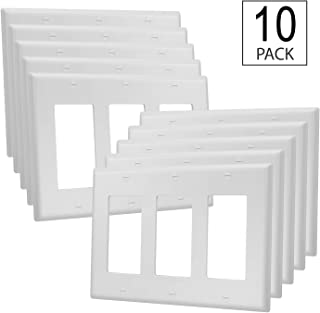 10 Pack - 3-Gang Cover Plate Decorator - UL Listed - GFCI Plastic Wall Plate, White