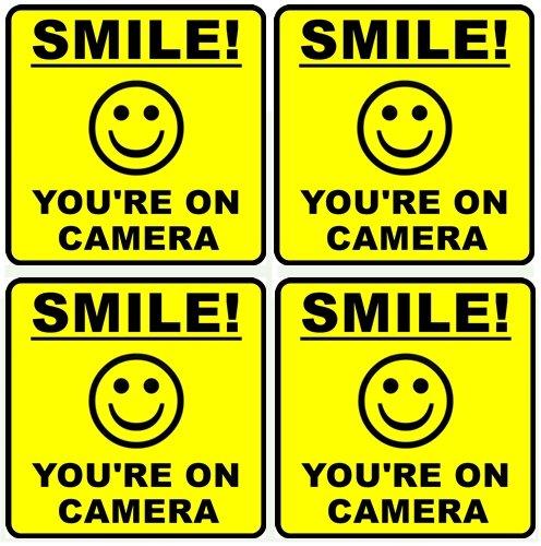 "Outdoor/Indoor (4 Pack) 4"" wide X 4"" high Home Business SMILE YOU'RE ON CAMERA Yellow Window Door Warning Security Alert Sticker DecalsBack Self Adhesive Vinyl"