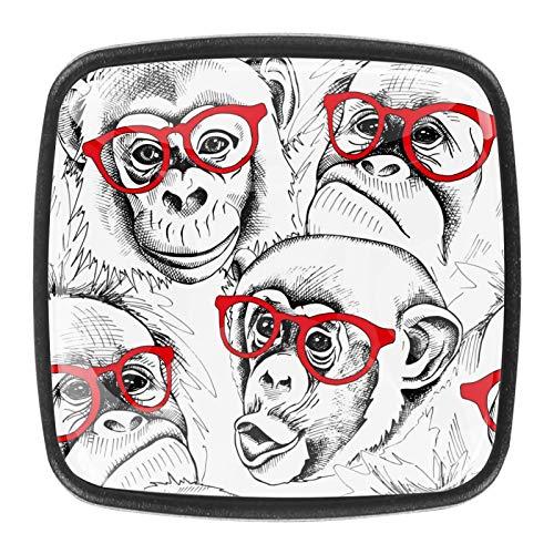 Juego de 4 tiradores de cajón y pomos para cajones con tornillos de cristal para cajón de cocina, puerta de armario, herrajes de orangutanes con gafas rojas