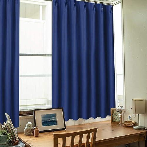 NICETOWN 遮光カーテン 2枚セット ローヤルブルー UVカット断熱 省エネ 高級感のある生地 リビングルーム 幅100cm丈110cm