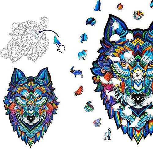 Zhengbenchang Verführerisches Fuchs Holzpuzzle, Holzpuzzle Majestätischer Wolf, Holzpuzzle Schillerndes Chamäleon, Einzigartige Formpuzzleteile, Erwachsene Und Kinder (Wolf)