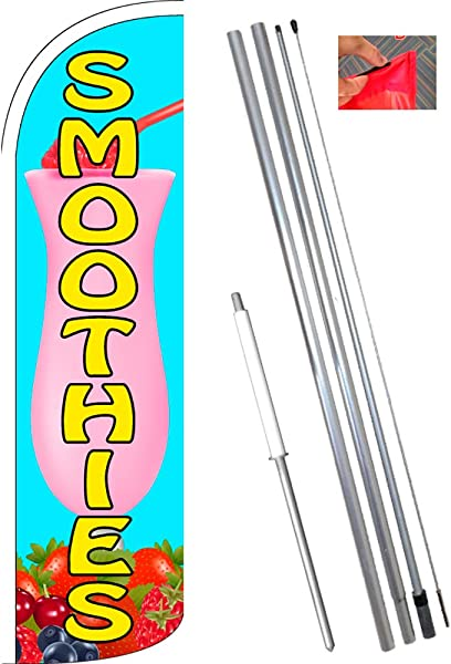 Smoothies Windless Feather Flag Bundle 11 5 Tall Flag 15 Tall Flagpole Ground Mount Stake