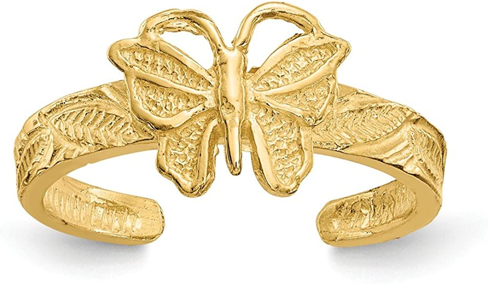 Solid 14k Yellow Gold Butterfly Toe Ring (2mm)
