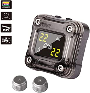 Onewell Motorcycle Tire Pressure Monitoring System, Waterproof Wireless TPMS for Motorcycle with 2 External Sensor, Digital LCD Display