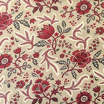 Tela por metros para Patchwork - 100% algodón - 110 cm ancho - Largo a elección de 50 en 50 cm | Beige con flores granate: Amazon.es: Hogar
