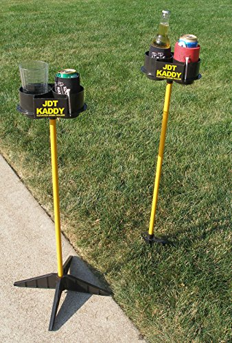 JDT Kaddy Elevated Drink Holders (Set of Two) Black/Yellow- Comes with Both Ground Stakes and Hard Surface Stands. Great for Outdoor Games (Black/Yellow)