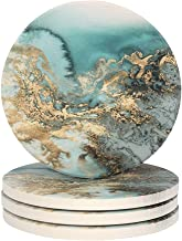 Lahome Marble Pattern Coasters - Round Drinks Absorbent Stone Coaster Set with Ceramic Stone and Cork Base for Kinds of Mu...