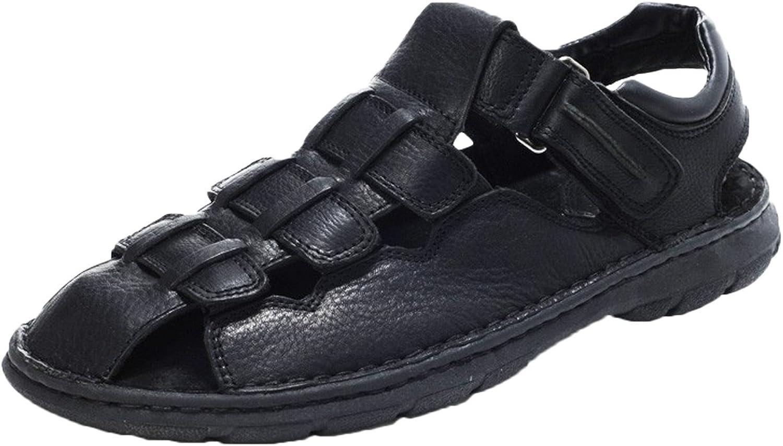 DQQ Men's Black Crazy Horse Leather Sandal 12 US