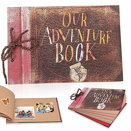 Álbum de aventura, 40 páginas retro, nuestro álbum de fotos de aventura de scrapbooking de Up, con kit de accesorios de bricolaje, álbum de fotos de boda de álbum retro para enamorados