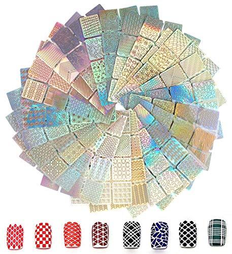 288 Stück Nagelaufkleber Schablonen, AOBETAK Nagel Schablone Vinyls Aufkleber Set, 24 Blätter 96 Verschiedene Selbstklebend Nageldesign Decals, Gute Nail Art Tool Kit