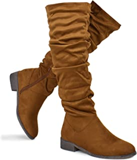 Women's Lace Thigh High Over The Knee Riding Boots - Side Zipper Comfy Vegan Suede