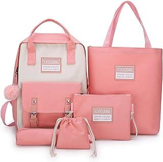 6Wcveuebuc 6Wcveuebuc 5-teiliges Canvas-Rucksack-Set für Schüler, Büchertaschen, Tagesrucksack, Handtasche, Schultertasche, Kordelzug, Federmäppchen, Set für Mädchen und Frauen