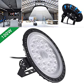 UFO LED Iluminación,techo de cristal 50W 100W 200W 300W 500W Brillante Iluminación Comercial Bahía Luces almacén led Lámpara de techo de cristal (100)